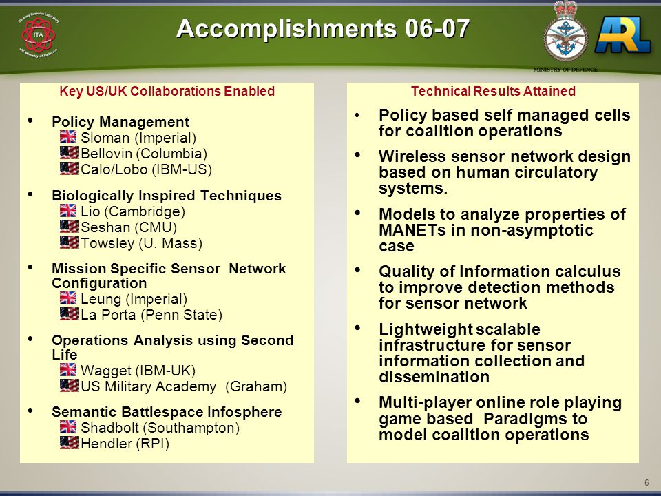 6 Accomplishments 06-07 Key US/UK Collaborations Enabled Policy Management Sloman (Imperial) Bellovin (Columbia) Calo/Lobo (IBM-US) Biologically Inspi