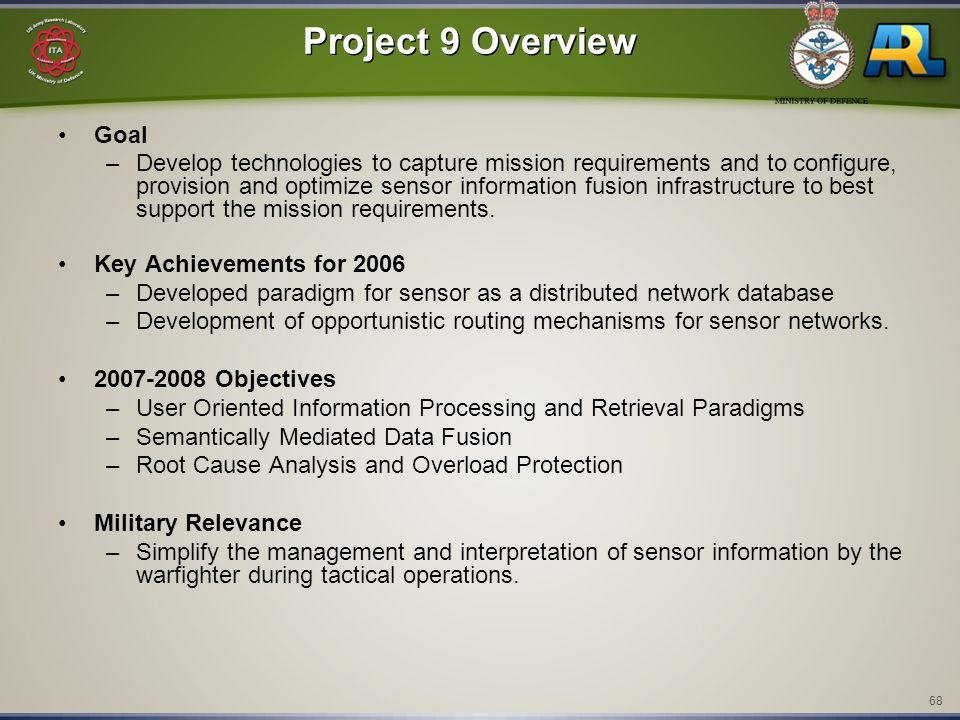 68 Project 9 Overview Goal –Develop technologies to capture mission requirements and to configure, provision and optimize sensor information fusion in