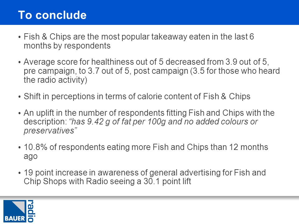 To conclude Fish & Chips are the most popular takeaway eaten in the last 6 months by respondents Average score for healthiness out of 5 decreased from