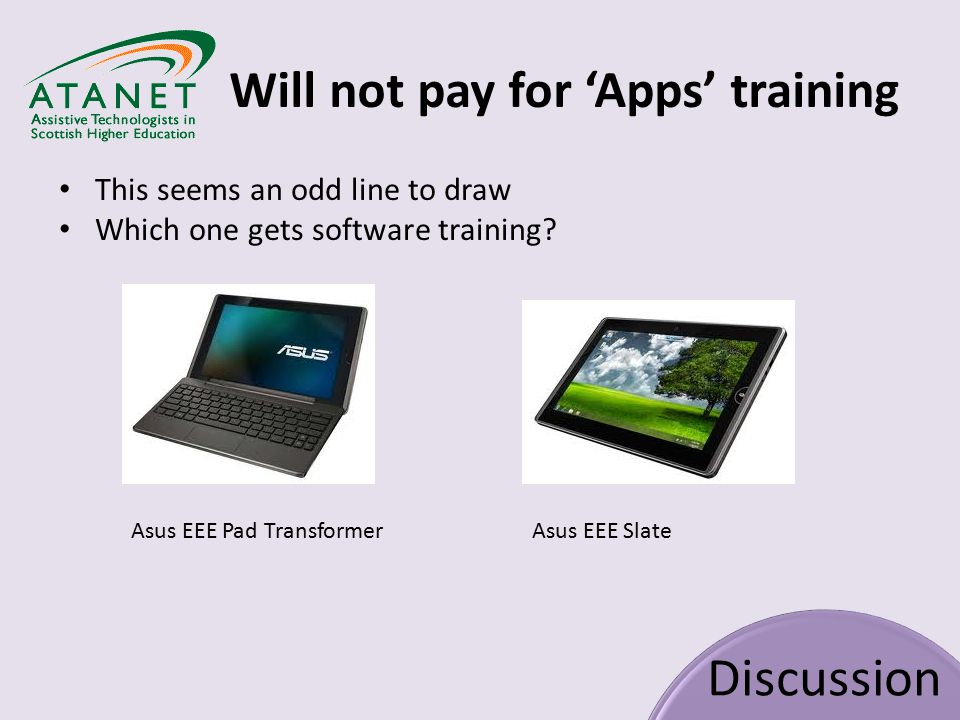 Will not pay for 'Apps' training Discussion This seems an odd line to draw Which one gets software training.