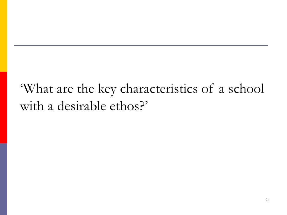 21 'What are the key characteristics of a school with a desirable ethos '