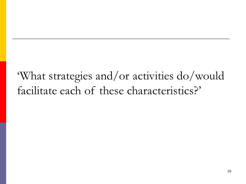 28 'What strategies and/or activities do/would facilitate each of these characteristics '