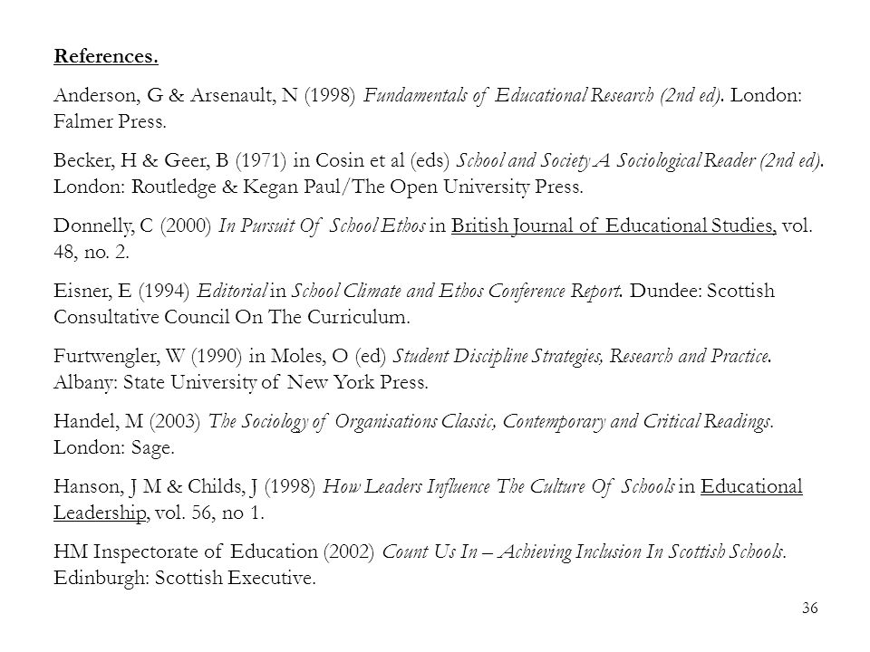 36 References. Anderson, G & Arsenault, N (1998) Fundamentals of Educational Research (2nd ed).