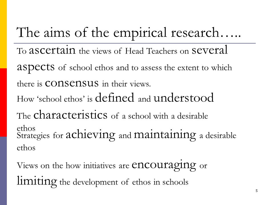 5 The aims of the empirical research…..