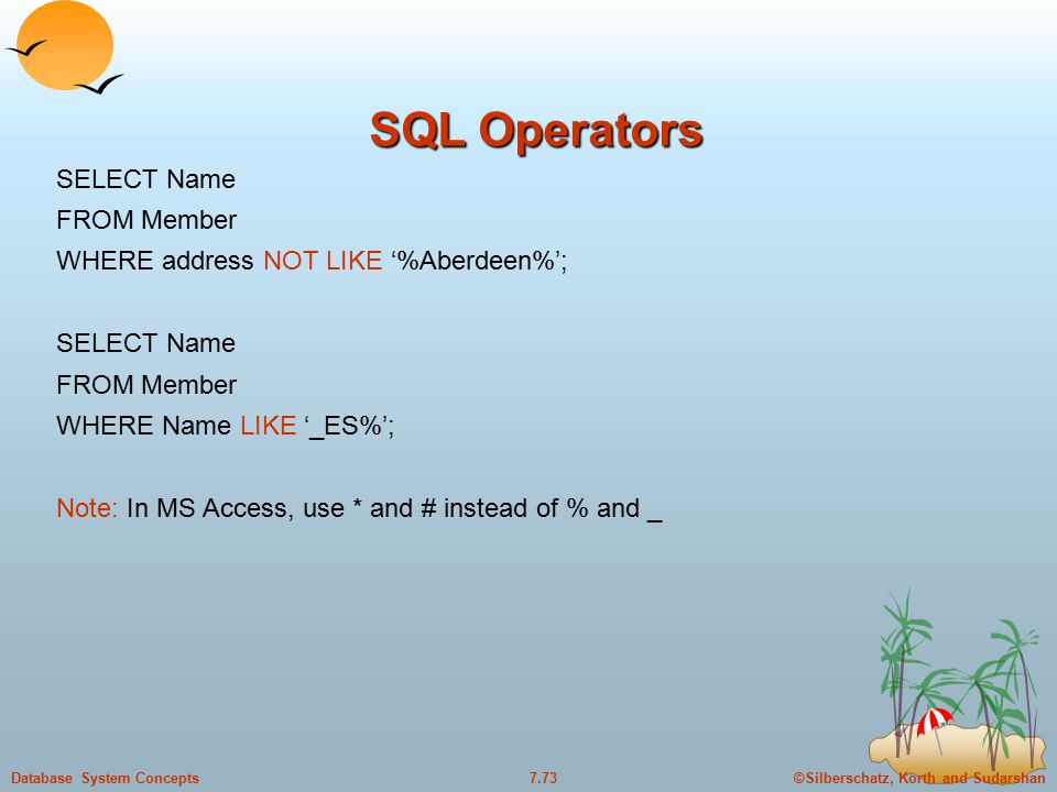 ©Silberschatz, Korth and Sudarshan7.72Database System Concepts SQL Operators SELECT Name FROM Member WHERE memno IN (100, 200, 300, 400); SELECT Name FROM Member WHERE memno NOT IN (100, 200, 300, 400);