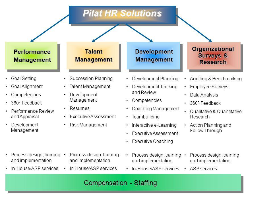 Talent Management Performance Management Development Management Organizational Surveys & Research Auditing & Benchmarking Employee Surveys Data Analys