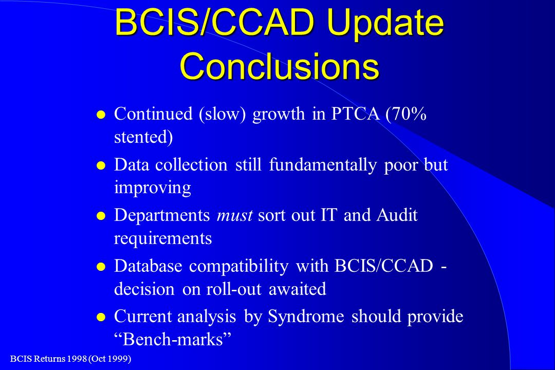 BCIS Returns 1998 (Oct 1999) BCIS/CCAD Update Conclusions l Continued (slow) growth in PTCA (70% stented) l Data collection still fundamentally poor but improving l Departments must sort out IT and Audit requirements l Database compatibility with BCIS/CCAD - decision on roll-out awaited l Current analysis by Syndrome should provide Bench-marks