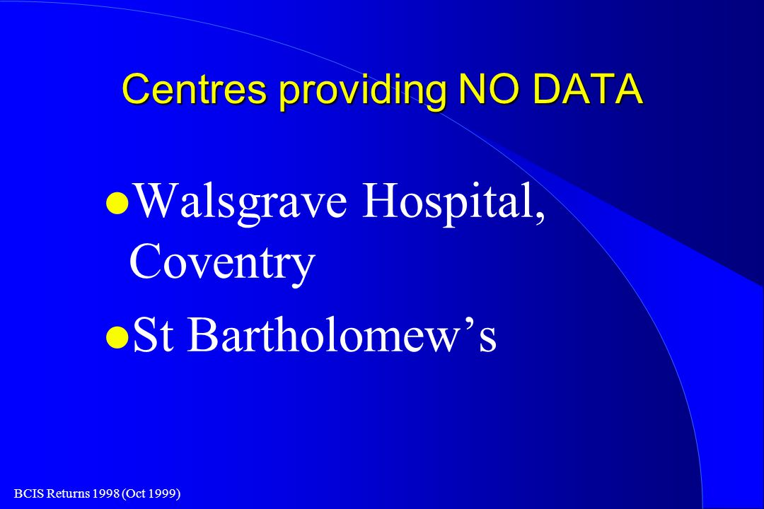 BCIS Returns 1998 (Oct 1999) Centres providing NO DATA l Walsgrave Hospital, Coventry l St Bartholomew's