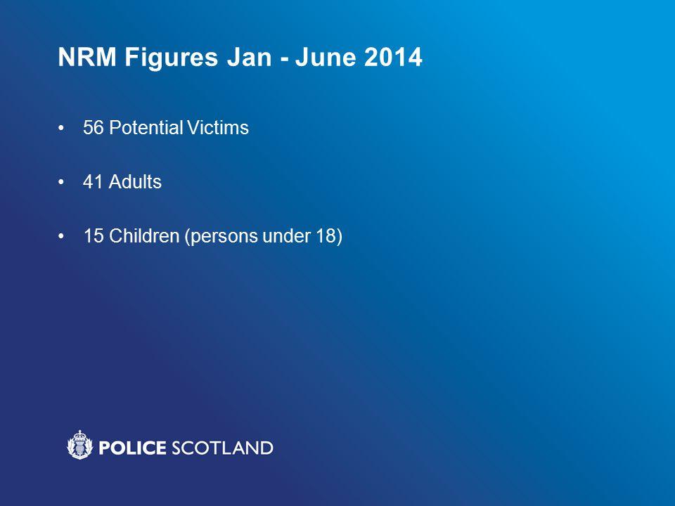 NRM Figures Jan - June 2014 56 Potential Victims 41 Adults 15 Children (persons under 18)