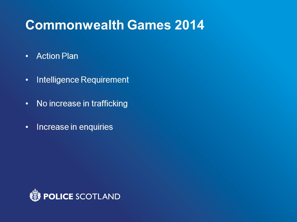 Commonwealth Games 2014 Action Plan Intelligence Requirement No increase in trafficking Increase in enquiries