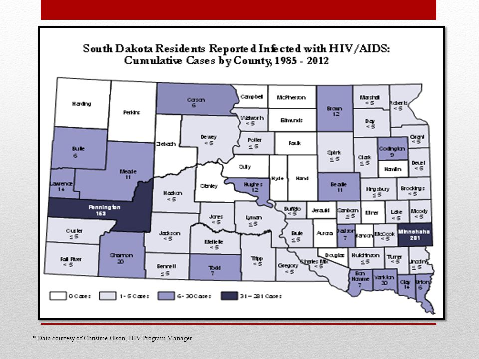 * Data courtesy of Christine Olson, HIV Program Manager