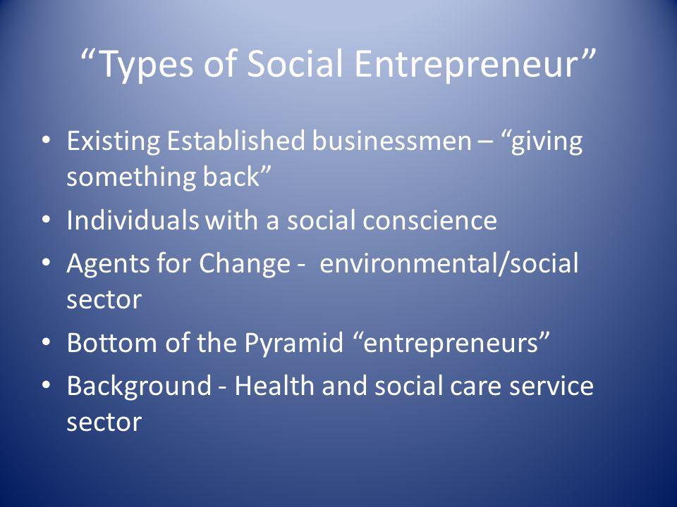 """Types of Social Entrepreneur"" Existing Established businessmen – ""giving something back"" Individuals with a social conscience Agents for Change - env"