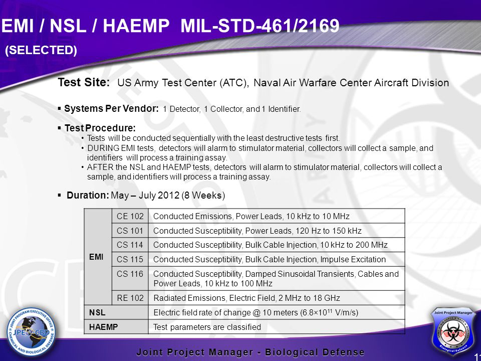 EMI / NSL / HAEMP MIL-STD-461/2169 11 Test Site: US Army Test Center (ATC), Naval Air Warfare Center Aircraft Division  Systems Per Vendor: 1 Detecto