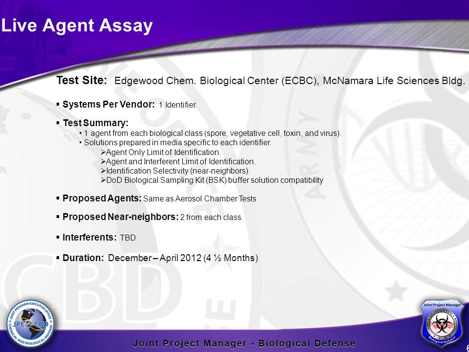 Live Agent Assay 6 Test Site: Edgewood Chem. Biological Center (ECBC), McNamara Life Sciences Bldg.