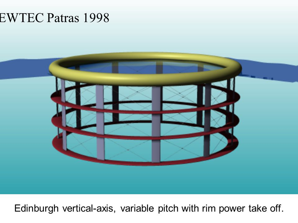 Edinburgh vertical-axis, variable pitch with rim power take off. EWTEC Patras 1998