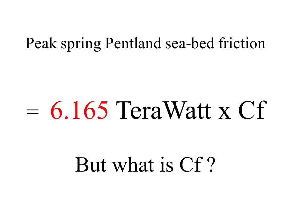 Peak spring Pentland sea-bed friction = 6.165 TeraWatt x Cf But what is Cf