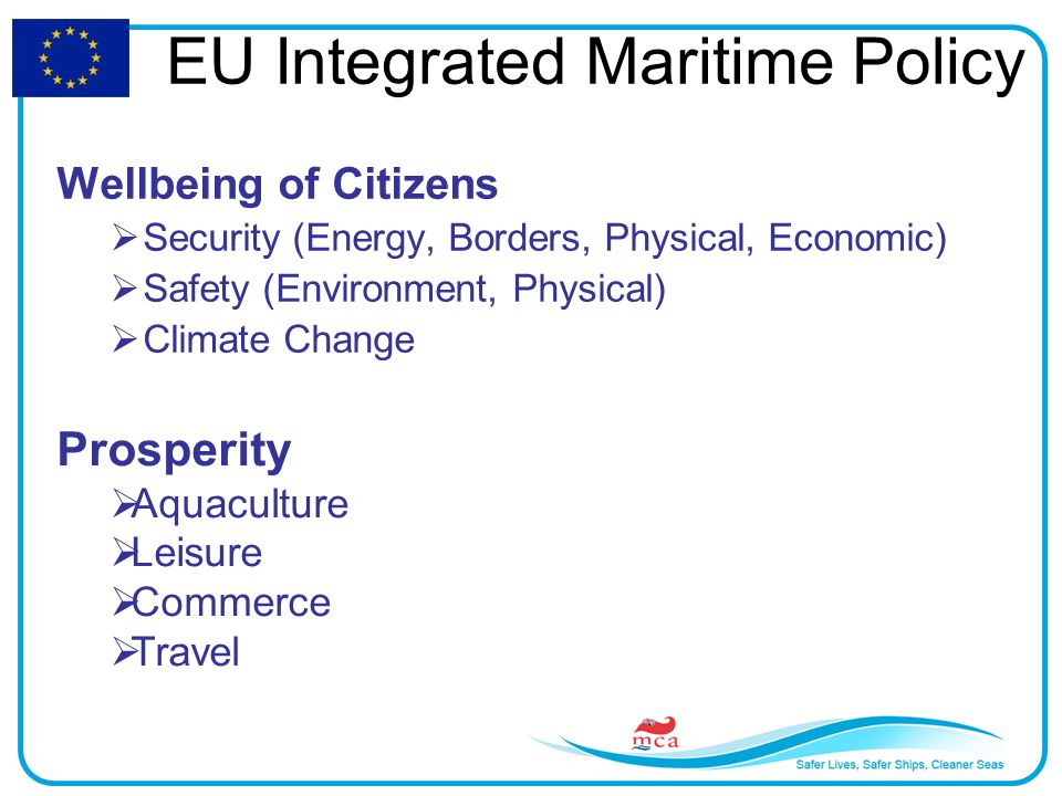 Wellbeing of Citizens  Security (Energy, Borders, Physical, Economic)  Safety (Environment, Physical)  Climate Change Prosperity  Aquaculture  Leisure  Commerce  Travel EU Integrated Maritime Policy
