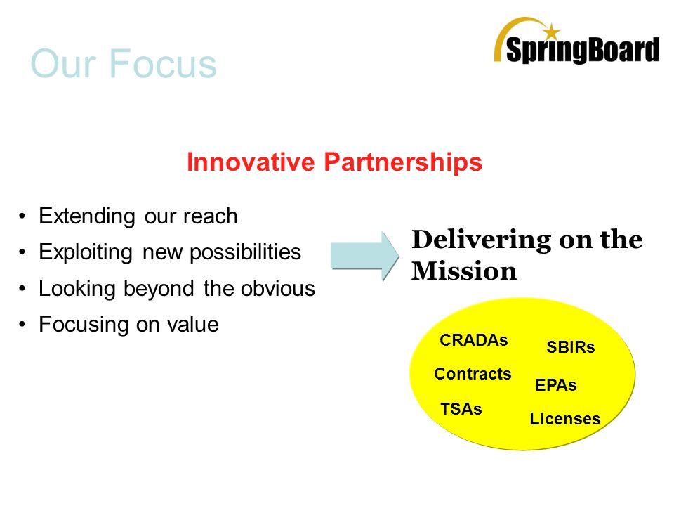 Our Focus Extending our reach Exploiting new possibilities Looking beyond the obvious Focusing on value Delivering on the Mission Innovative Partnerships EPAs Licenses SBIRs TSAs Contracts CRADAs
