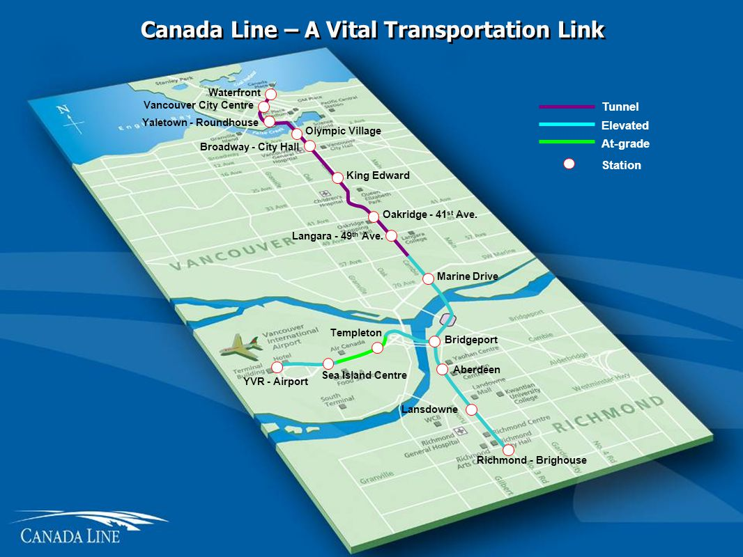 Canada Line – A Vital Transportation Link Waterfront Vancouver City Centre Yaletown - Roundhouse Broadway - City Hall King Edward Oakridge - 41 st Ave.