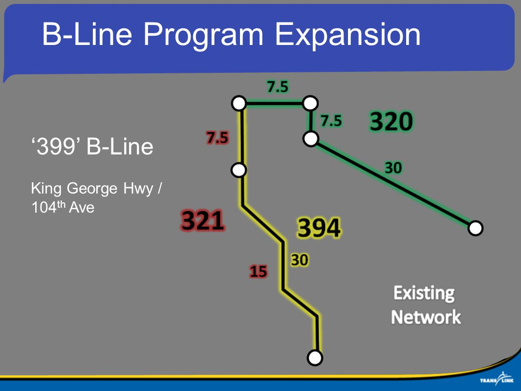 B-Line Program Expansion '399' B-Line King George Hwy / 104 th Ave