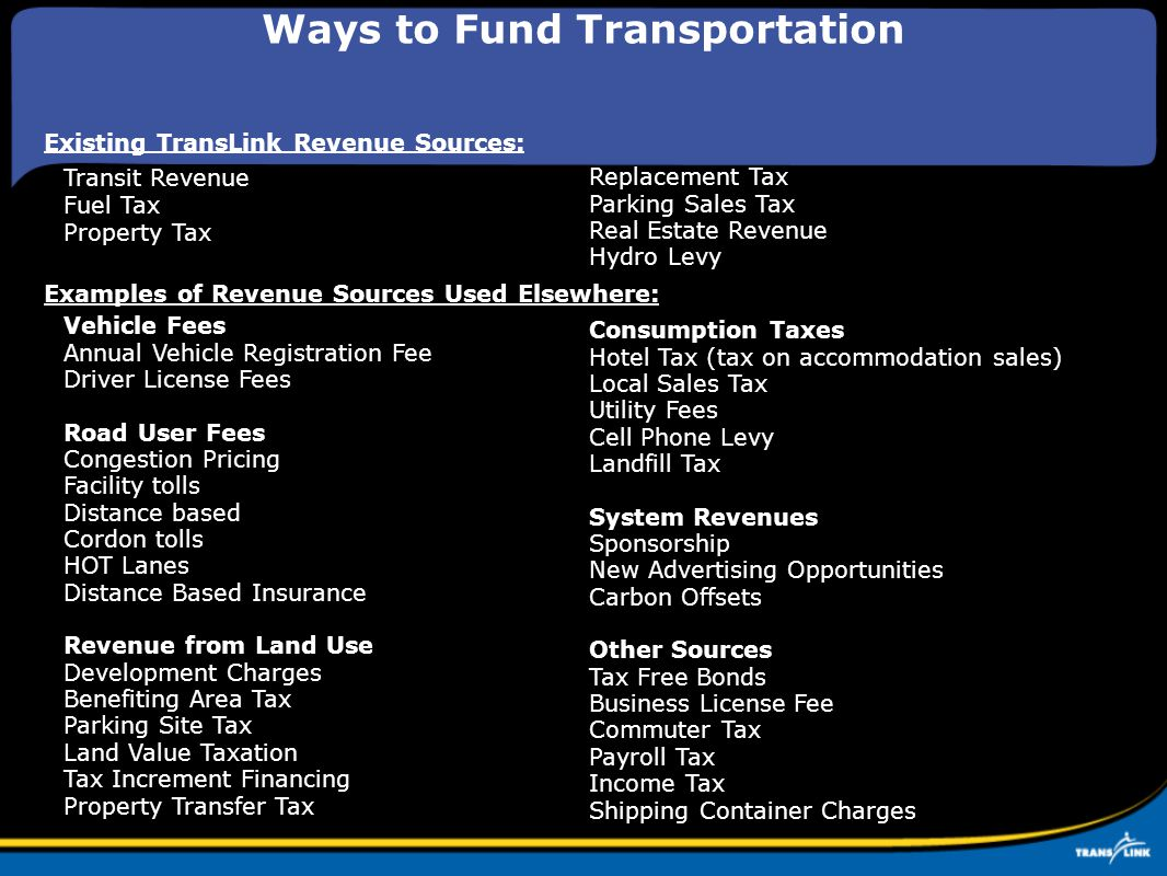Ways to Fund Transportation Vehicle Fees Annual Vehicle Registration Fee Driver License Fees Road User Fees Congestion Pricing Facility tolls Distance based Cordon tolls HOT Lanes Distance Based Insurance Revenue from Land Use Development Charges Benefiting Area Tax Parking Site Tax Land Value Taxation Tax Increment Financing Property Transfer Tax Consumption Taxes Hotel Tax (tax on accommodation sales) Local Sales Tax Utility Fees Cell Phone Levy Landfill Tax System Revenues Sponsorship New Advertising Opportunities Carbon Offsets Other Sources Tax Free Bonds Business License Fee Commuter Tax Payroll Tax Income Tax Shipping Container Charges Examples of Revenue Sources Used Elsewhere: Existing TransLink Revenue Sources: Transit Revenue Fuel Tax Property Tax Replacement Tax Parking Sales Tax Real Estate Revenue Hydro Levy
