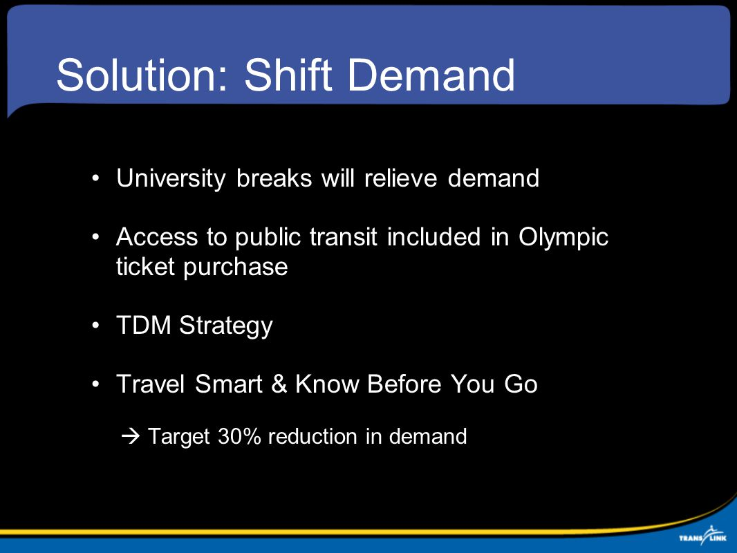 Solution: Shift Demand University breaks will relieve demand Access to public transit included in Olympic ticket purchase TDM Strategy Travel Smart & Know Before You Go  Target 30% reduction in demand