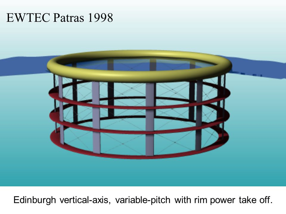 Edinburgh vertical-axis, variable-pitch with rim power take off. EWTEC Patras 1998