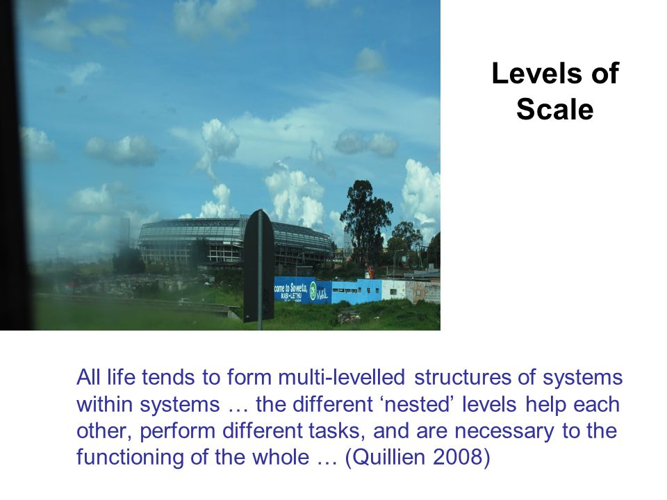 All life tends to form multi-levelled structures of systems within systems … the different 'nested' levels help each other, perform different tasks, and are necessary to the functioning of the whole … (Quillien 2008) Levels of Scale