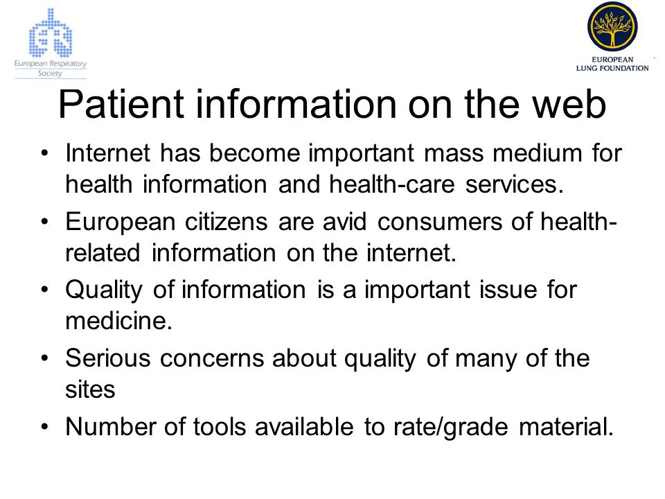 Patient information on the web Internet has become important mass medium for health information and health-care services.