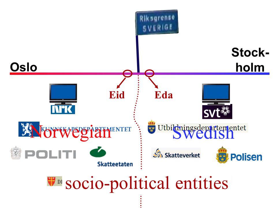 Oslo Stock- holm Norwegian Swedish socio-political entities Eda Eid