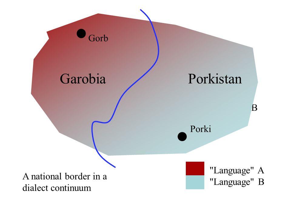 Langauge B Language A Language B GarobiaPorkistan Gorb Porki A national border in a dialect continuum