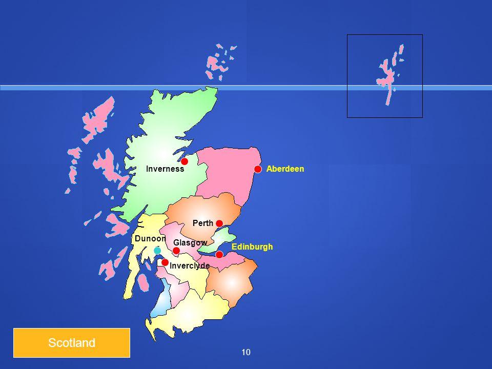 10 Scotland InvernessAberdeen Perth Glasgow Inverclyde Edinburgh Dunoon