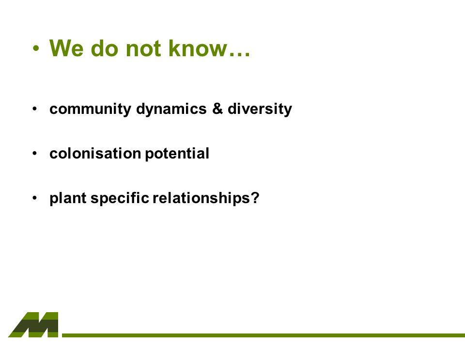 We do not know… community dynamics & diversity colonisation potential plant specific relationships