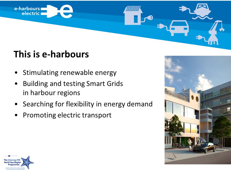 This is e-harbours Stimulating renewable energy Building and testing Smart Grids in harbour regions Searching for flexibility in energy demand Promoting electric transport