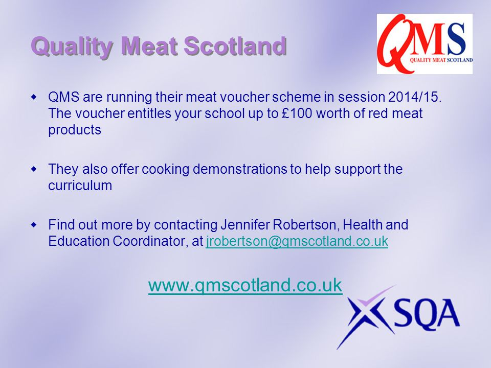 Quality Meat Scotland  QMS are running their meat voucher scheme in session 2014/15.