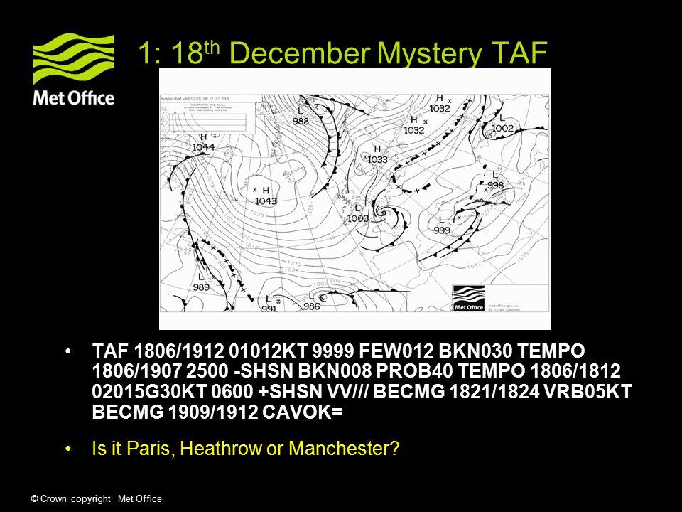 © Crown copyright Met Office 1: 18 th December Mystery TAF TAF 1806/1912 01012KT 9999 FEW012 BKN030 TEMPO 1806/1907 2500 -SHSN BKN008 PROB40 TEMPO 1806/1812 02015G30KT 0600 +SHSN VV/// BECMG 1821/1824 VRB05KT BECMG 1909/1912 CAVOK= Is it Paris, Heathrow or Manchester