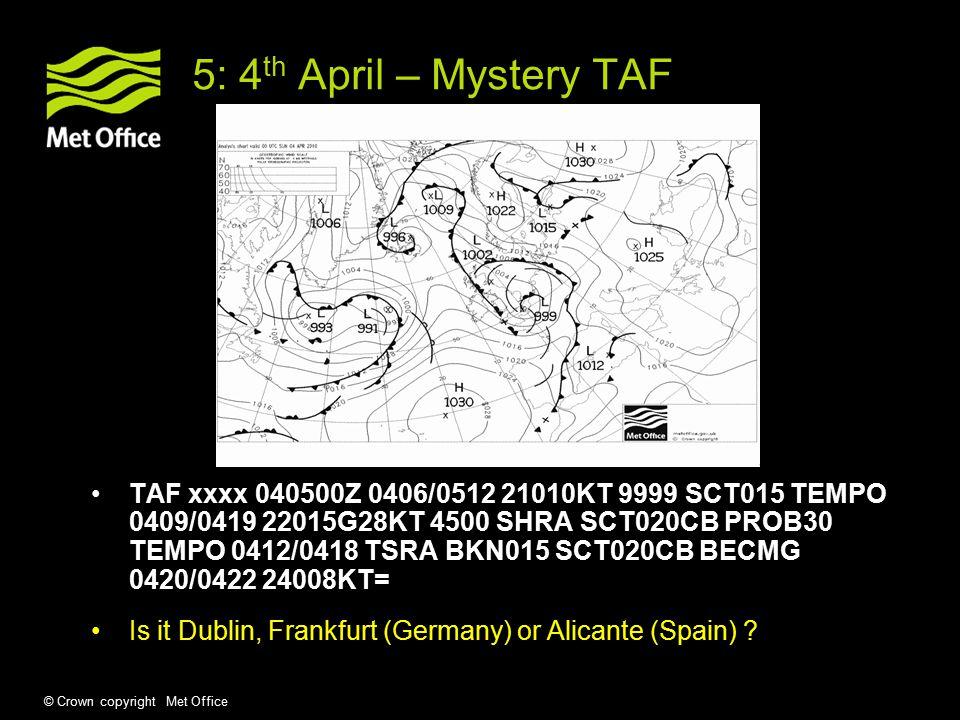 © Crown copyright Met Office 6: 9 th April – Mystery METAR METAR 091150Z VRB06KT CAVOK 17/03 Q1034 NOSIG= METAR 091750Z 36004KT 320V060 CAVOK 17/02 Q1032 NOSIG= METAR 092350Z 07005KT CAVOK 10/06 Q1034 NOSIG= Is it Cardiff, Manchester or Heathrow ?