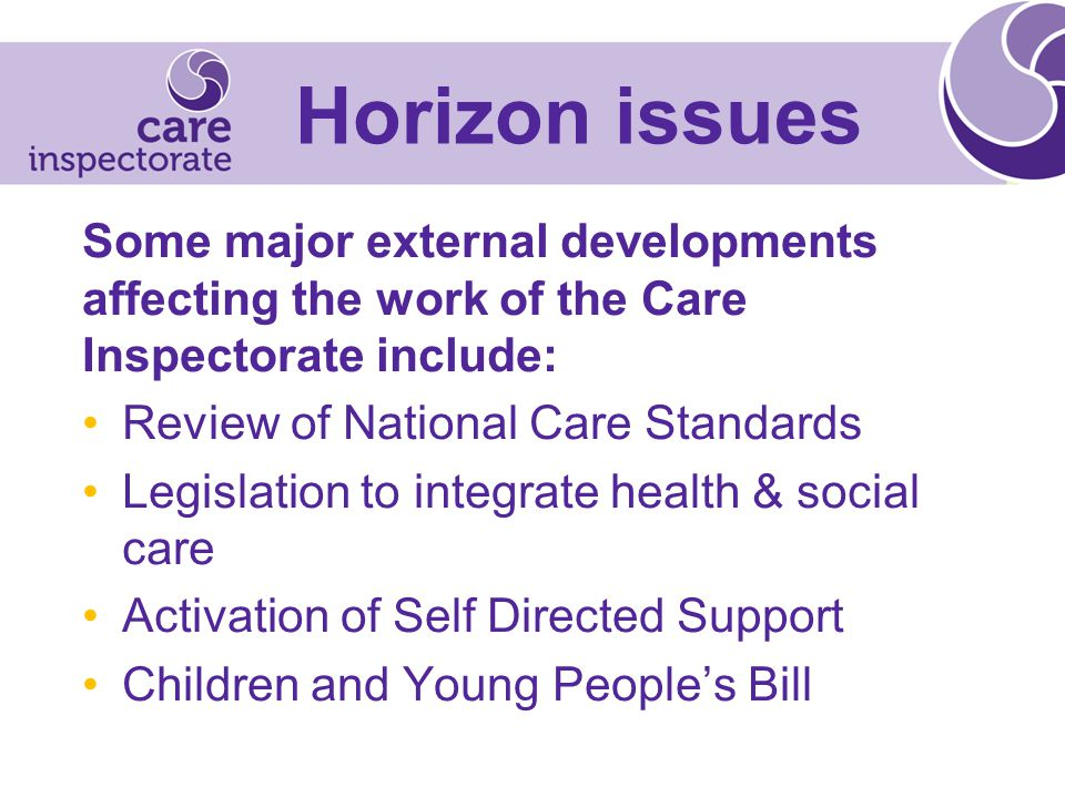 Horizon issues Some major external developments affecting the work of the Care Inspectorate include: Review of National Care Standards Legislation to integrate health & social care Activation of Self Directed Support Children and Young People's Bill