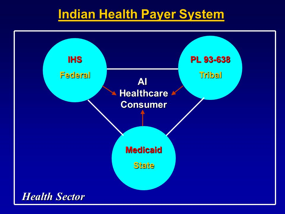 IHSFederal PL 93-638 Tribal MedicaidState AIHealthcareConsumer Indian Health Payer System Health Sector