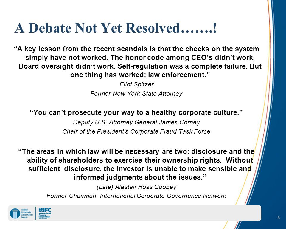 5 A Debate Not Yet Resolved……..