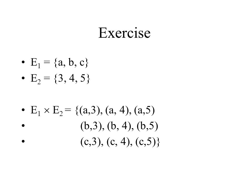 Mathematical Relations (2) Any subset of this Cartesian product is a relation.