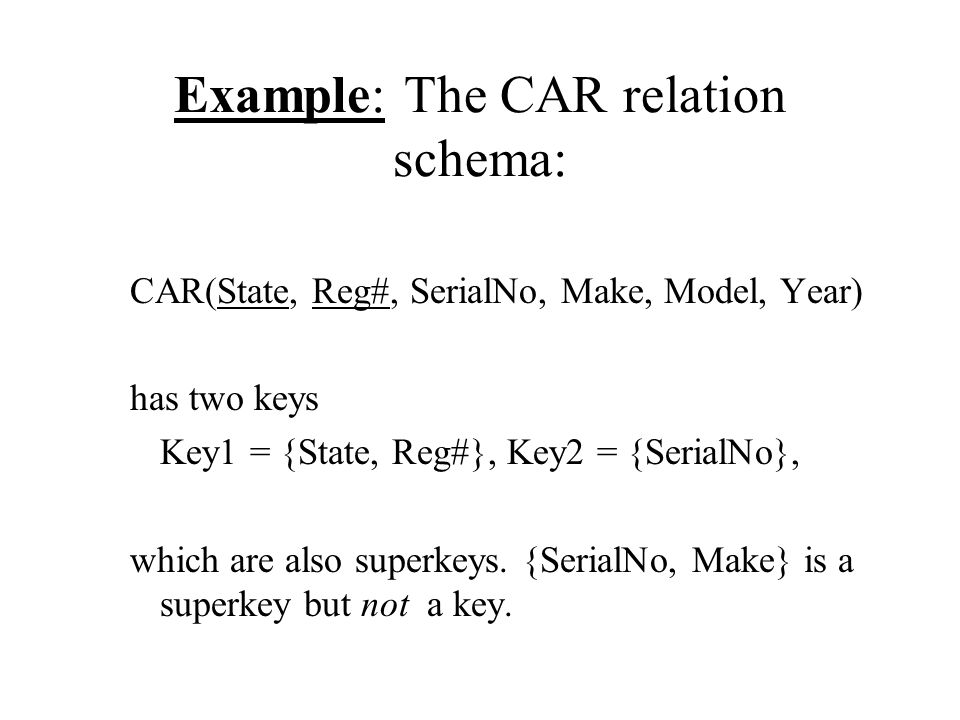 Example: The CAR relation schema: CAR(State, Reg#, SerialNo, Make, Model, Year) has two keys Key1 = {State, Reg#}, Key2 = {SerialNo}, which are also s