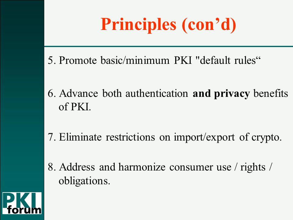 Principles (con'd) 5. Promote basic/minimum PKI default rules 6.