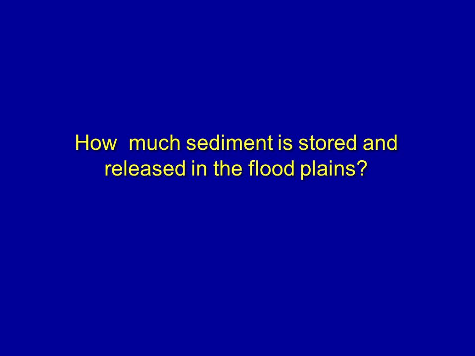 How much sediment is stored and released in the flood plains?