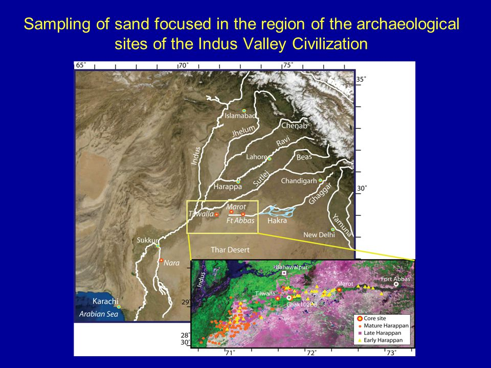 Sampling of sand focused in the region of the archaeological sites of the Indus Valley Civilization
