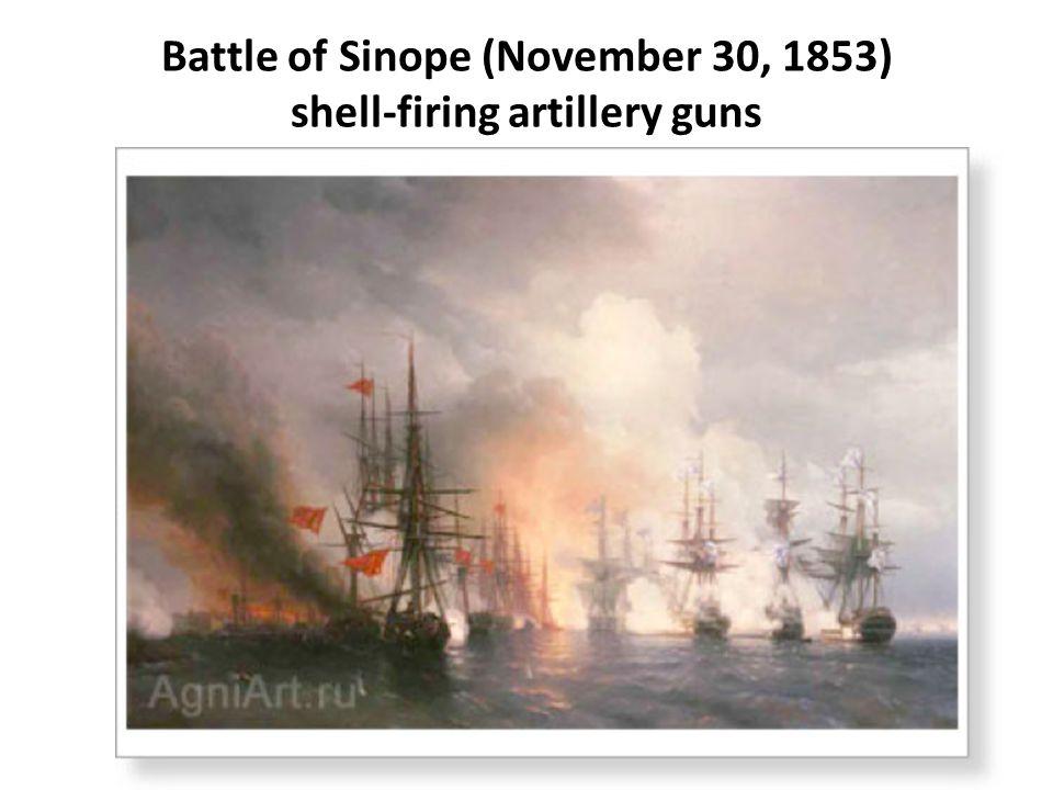 Battle of Sinope (November 30, 1853) shell-firing artillery guns