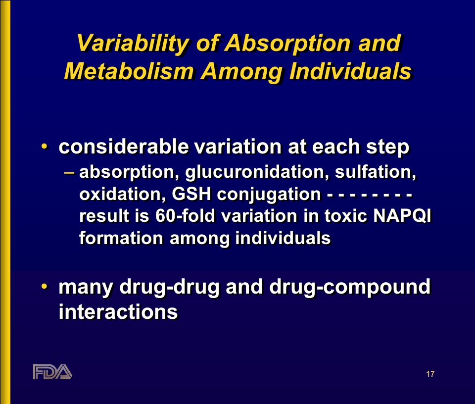 17 Variability of Absorption and Metabolism Among Individuals considerable variation at each step –absorption, glucuronidation, sulfation, oxidation, GSH conjugation - - - - - - - - result is 60-fold variation in toxic NAPQI formation among individuals many drug-drug and drug-compound interactions considerable variation at each step –absorption, glucuronidation, sulfation, oxidation, GSH conjugation - - - - - - - - result is 60-fold variation in toxic NAPQI formation among individuals many drug-drug and drug-compound interactions