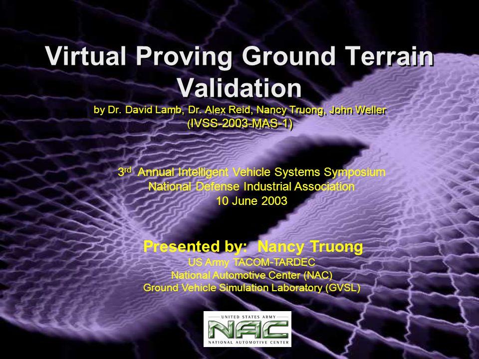 Virtual Proving Ground Terrain Validation by Dr. David Lamb, Dr.