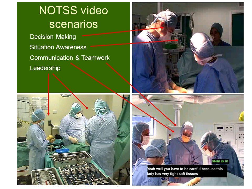 NOTSS video scenarios Leadership Situation Awareness Communication & Teamwork Decision Making