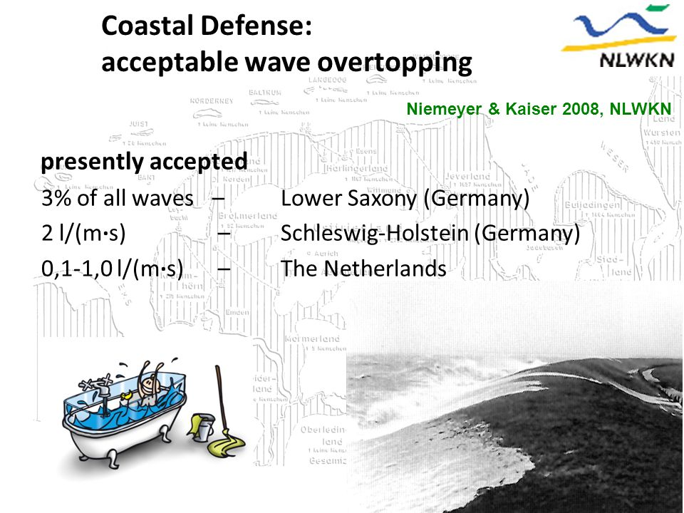 Coastal Defense: acceptable wave overtopping Niemeyer & Kaiser 2008, NLWKN presently accepted 3% of all waves – Lower Saxony (Germany) 2 l/(m∙s) – Schleswig-Holstein (Germany) 0,1-1,0 l/(m∙s) – The Netherlands